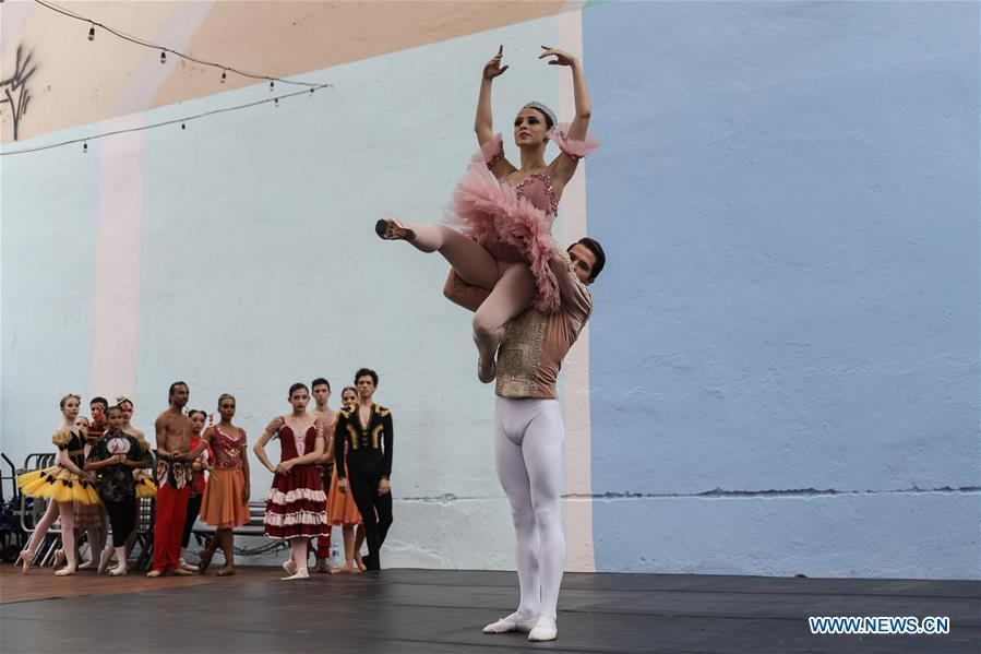 Dancers perform ballet to celebrate forthcoming holiday season in Sao Paulo