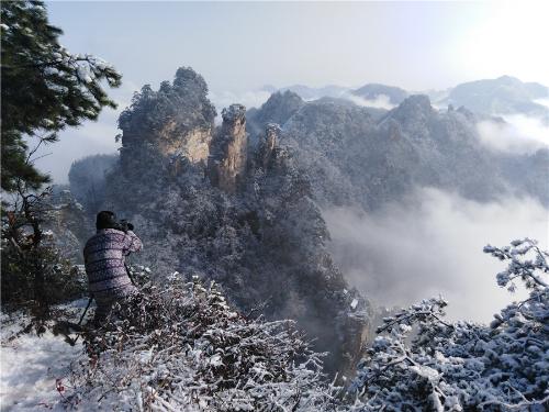 Snow turns Wulingyuan into winter wonderland