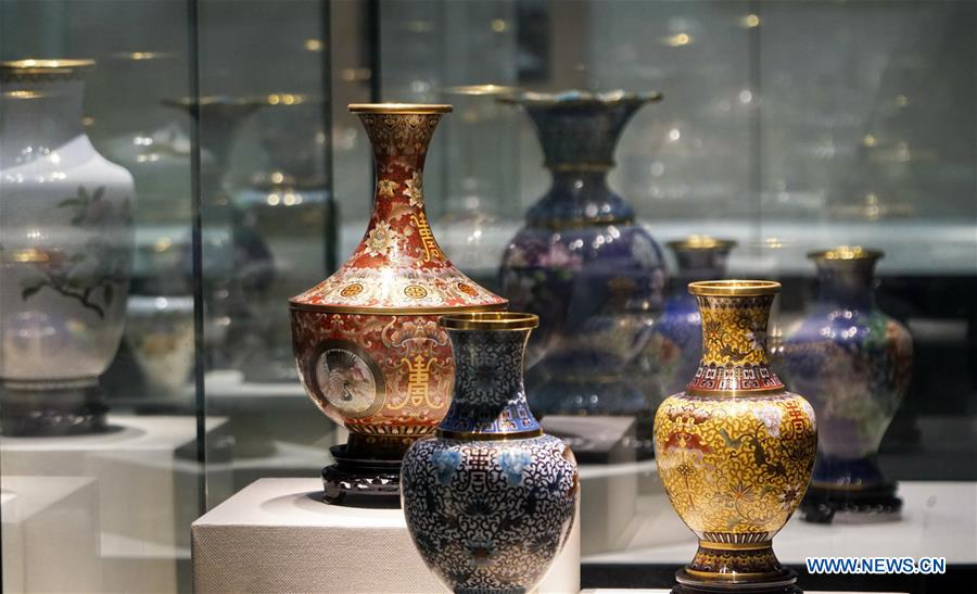 Cloisonne artworks exhibited at Cloisonne Art Museum of China in Beijing