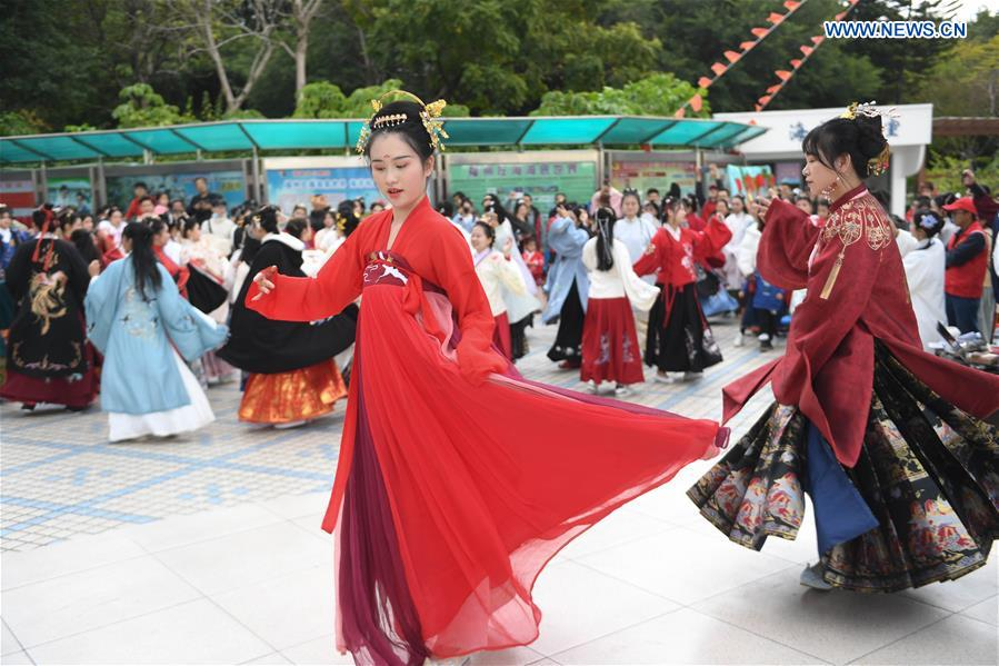 People dressed in Han-style costumes to celebrate Winter Solstice