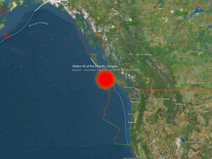 6.0-magnitude quake hits 163km W of Port Hardy, Canada: USGS