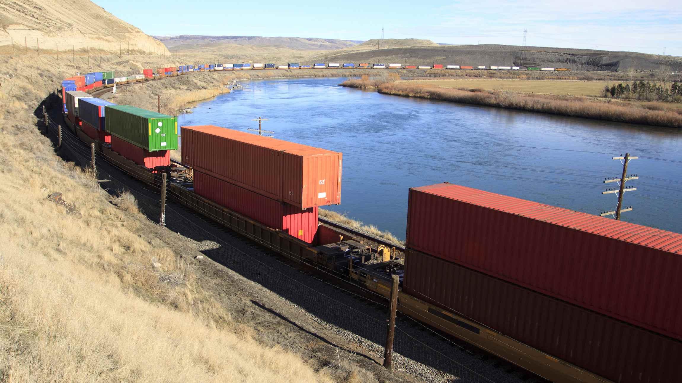 China-Europe freight trains passing Mongolia