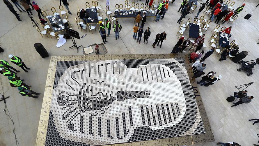 Guinness World Record set by giant coffee cup-made Tutankhamun mask