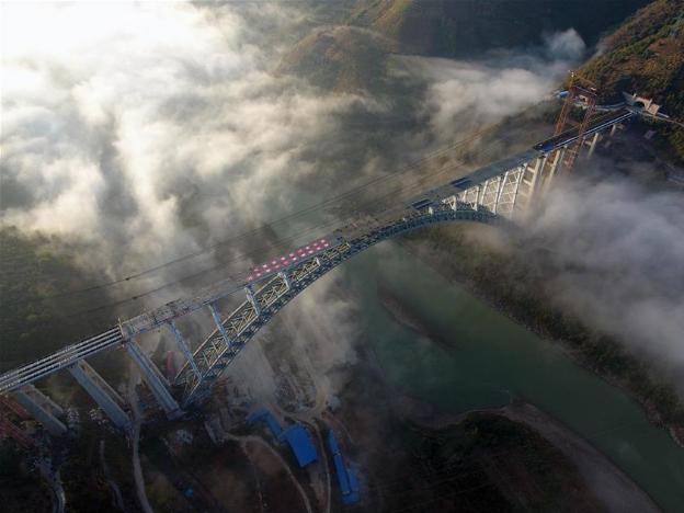 Arch bridge of Dali-Ruili railway under construction