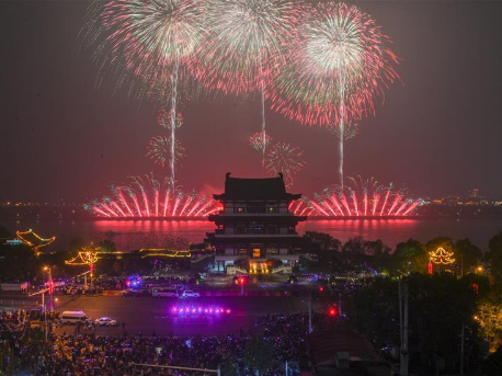 Fireworks showed during New Year celebrations in Changsha, China's Hunan