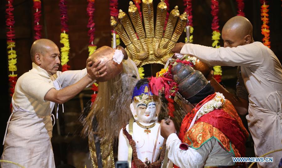 Annual ceremony for worshiping deity of Machhendranath held in Kathmandu, Nepal
