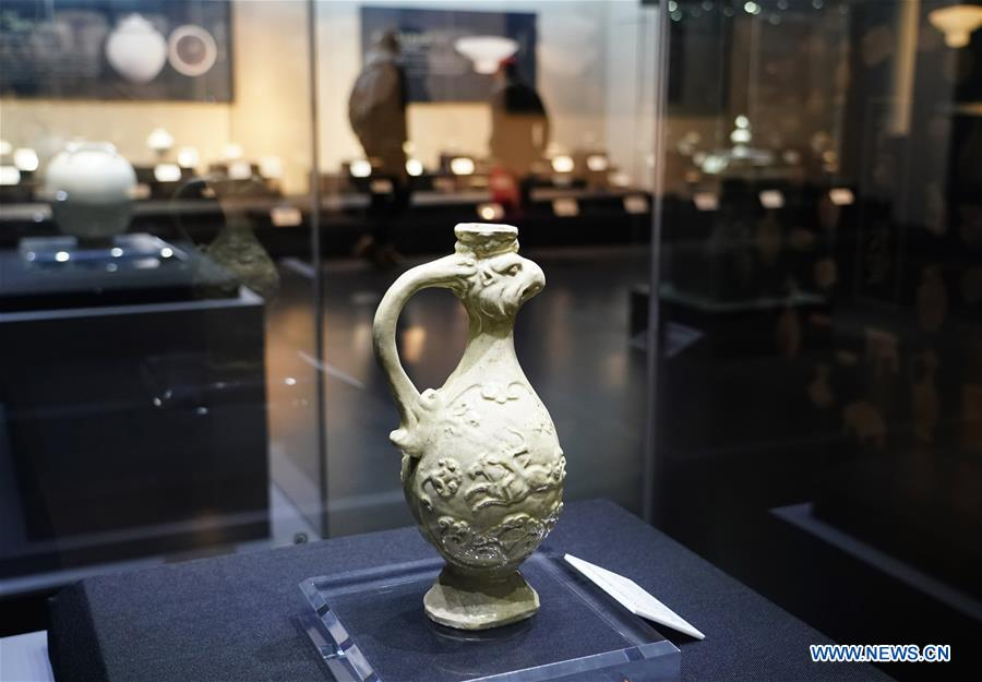 White porcelain wares of Tang Dynasty displayed at exhibition in Xi'an, China's Shaanxi