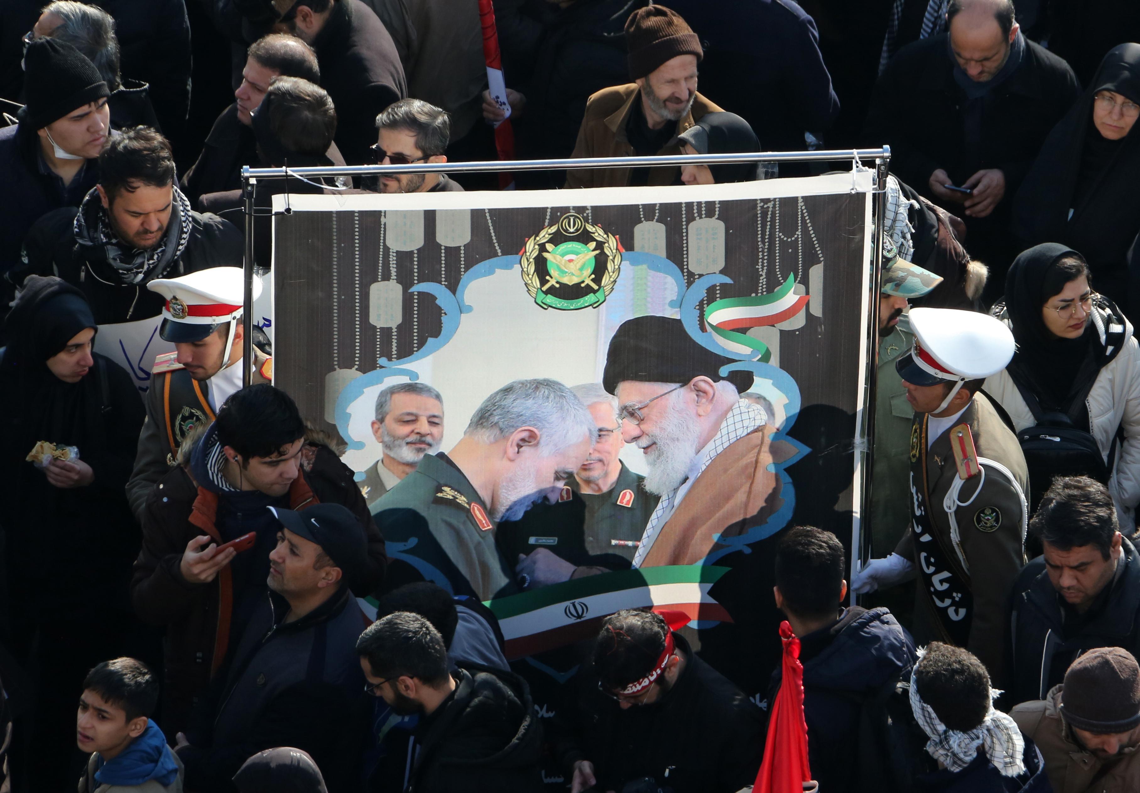 Iran supreme leader prays over coffin of general Soleimani