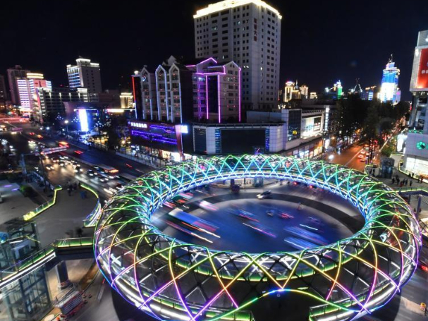 Donut-like overpass illuminates Kunming night sky
