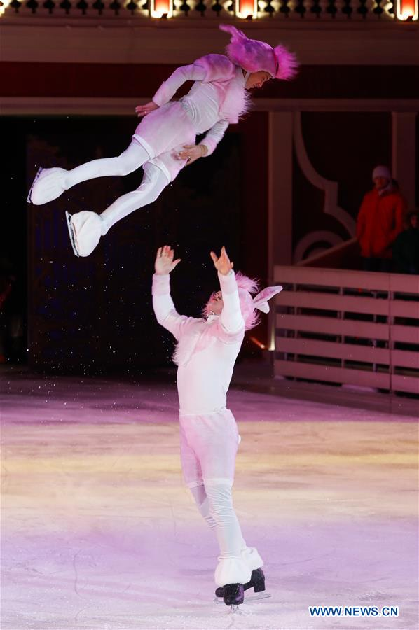 Artists perform in Snow White ice ballet show in Moscow, Russia