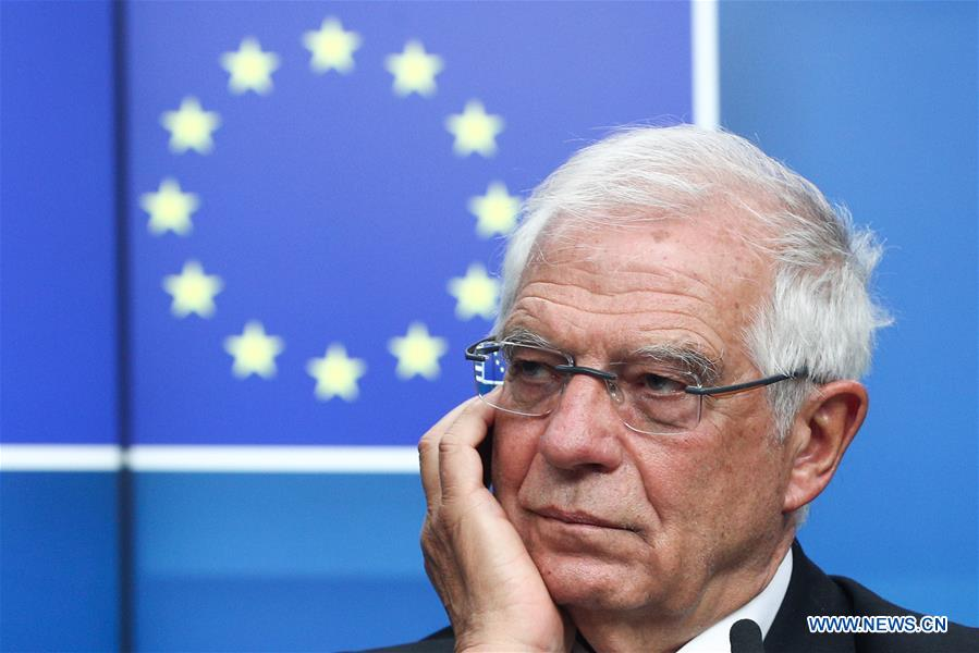 In pics: press conference after EU foreign ministers' meeting on mideast situation at EU headquarters in Brussels