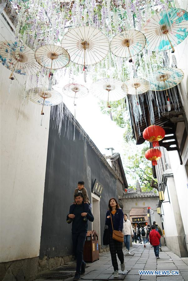 Historic street of SanfangQixiang in Fuzhou adorned with decorations to greet Spring Festival