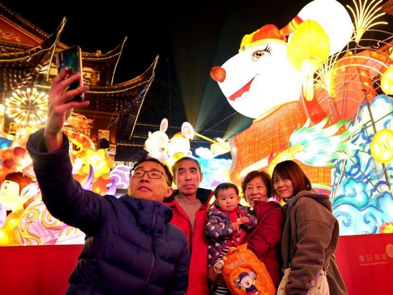 Lanterns illuminate Yuyuan Garden in Shanghai