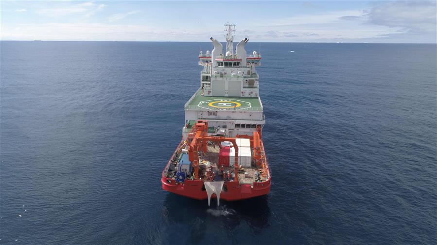 Xuelong 2 conducts scentific research in Cosmonauts Sea