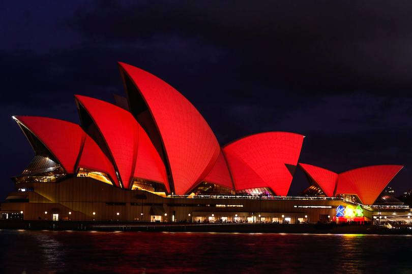 Sydney Opera House turns red for Lunar New Year celebrations