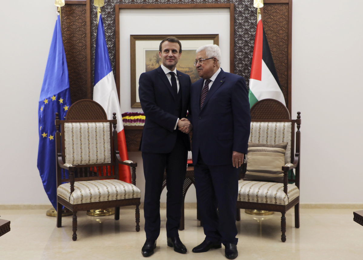 Palestinian president meets Macron over efforts to save two-state solution