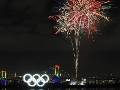 Olympic rings illuminated in Tokyo