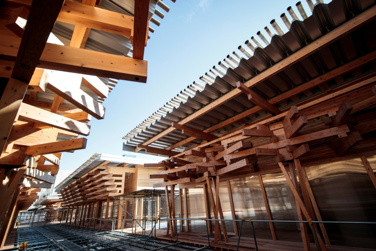 Tokyo 2020 unveils Olympic 'plaza' made from donated wood
