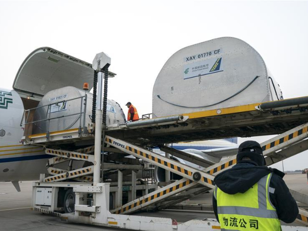 Aid materials arrive at Wuhan Tianhe Int'l Airport