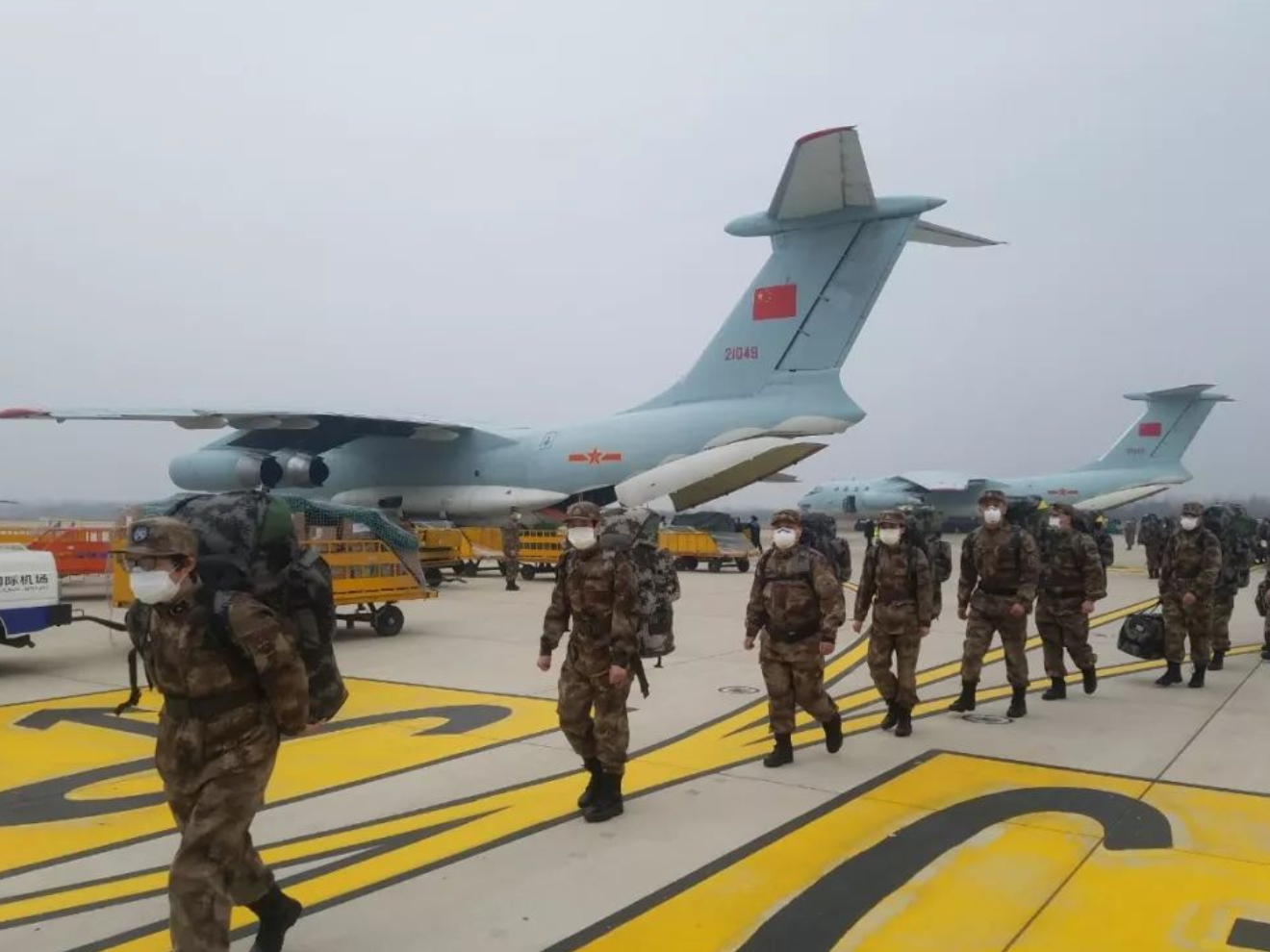 PLA air force dispatches 8 transport aircraft to support Wuhan's coronavirus fight