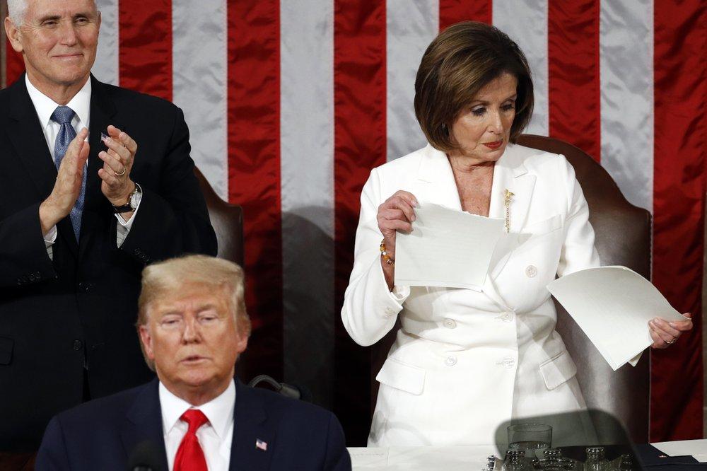 Pelosi shreds Trump's speech. Right there on the podium.