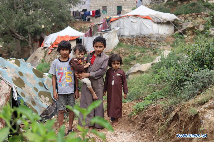 Displaced people seen in Razih district, Yemen