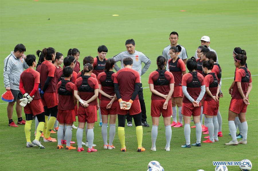 Team China attend training session for Olympic women's football qualifying match