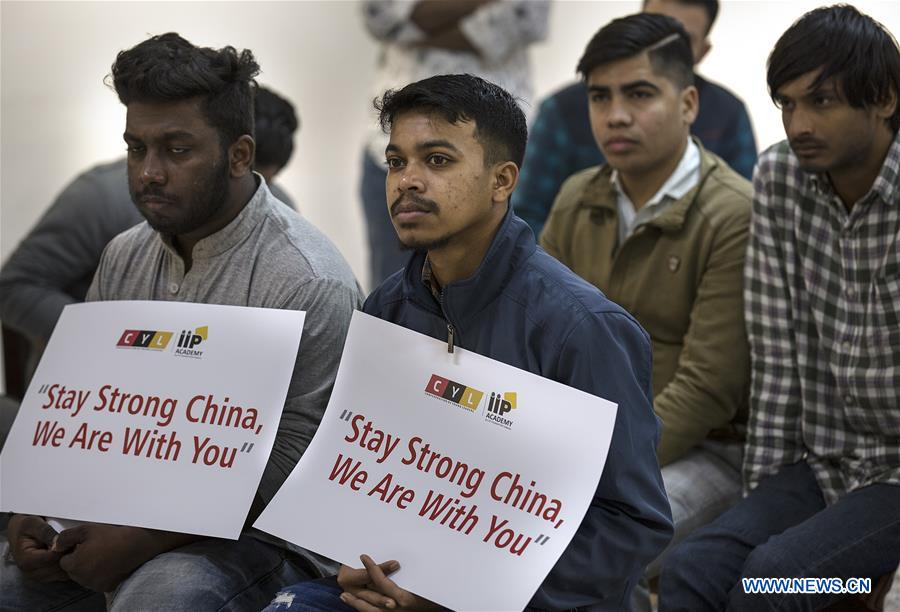 Indian people express solidarity with virus-fighting China