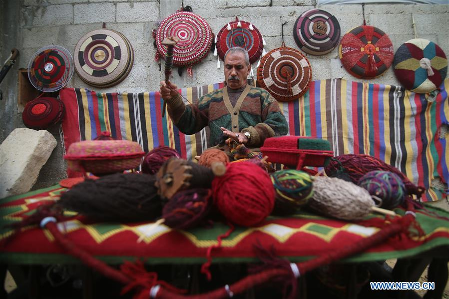 Palestinian craftsman makes art pieces in southern Gaza Strip city of Khan Younis