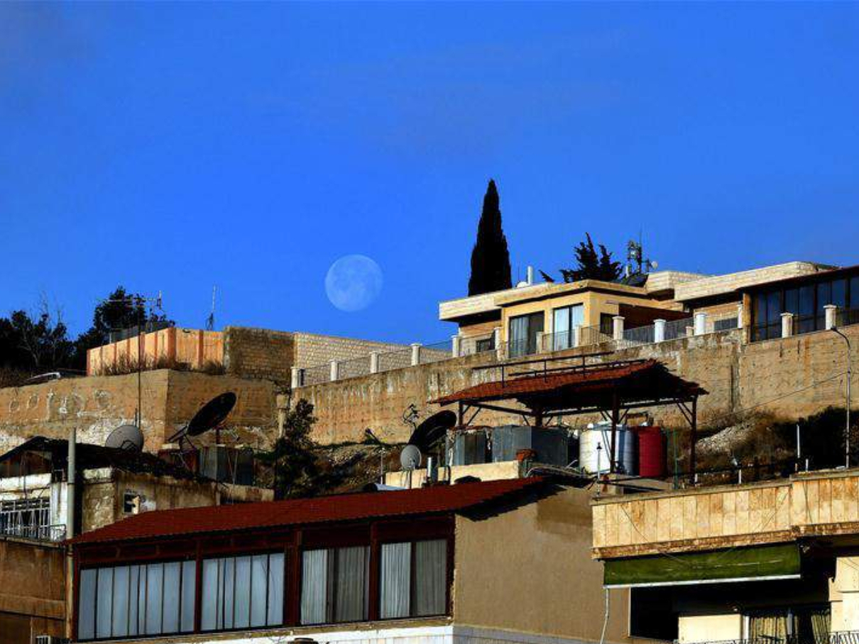 Moon seen in Damascus, Syria