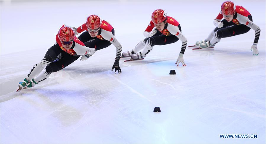 Chinese skaters take part in training session before ISU Short Track World Cup