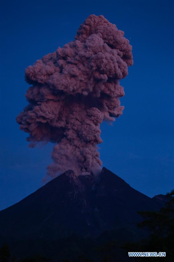 Mount Merapi erupts from Kemalang village in Indonesia