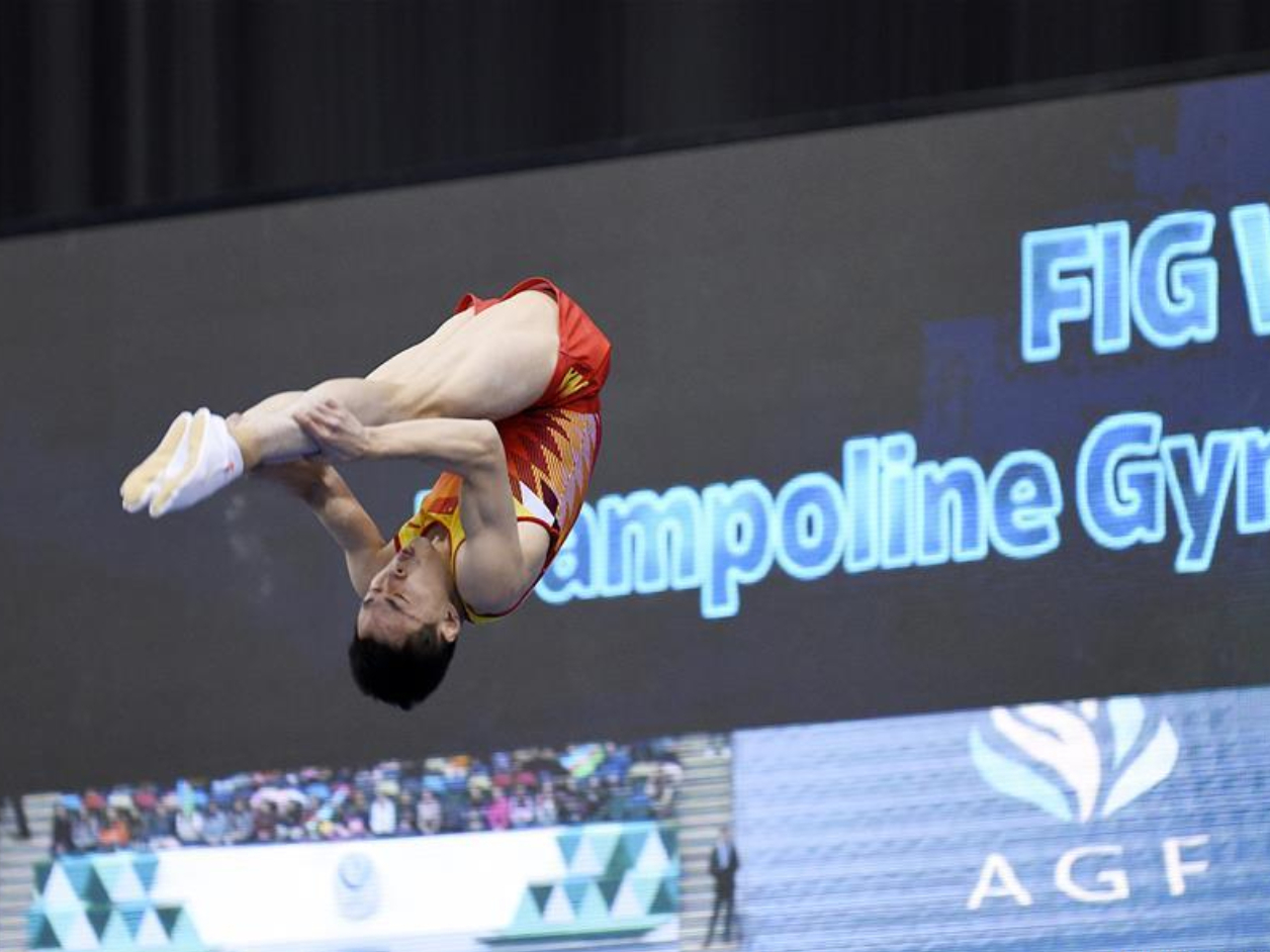 China's Gao Lei wins gold of Trampoline Gymnastics at FIG World Cup