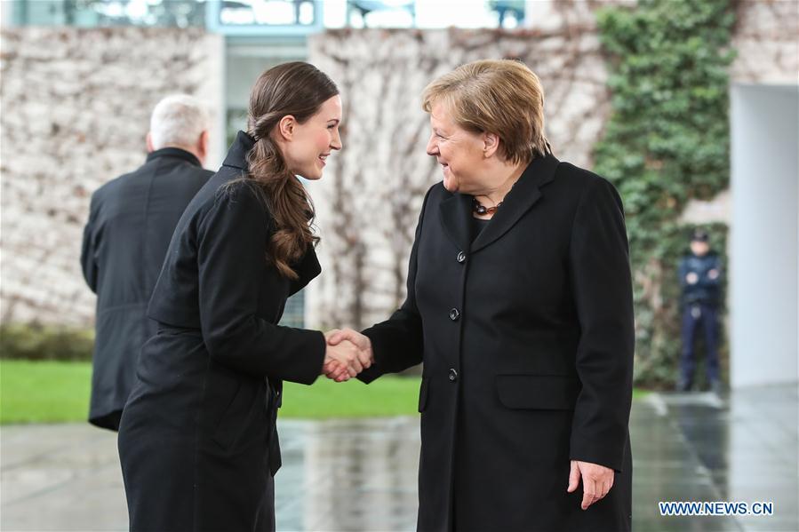 German Chancellor Merkel meets Finnish PM Sanna Marin in Berlin