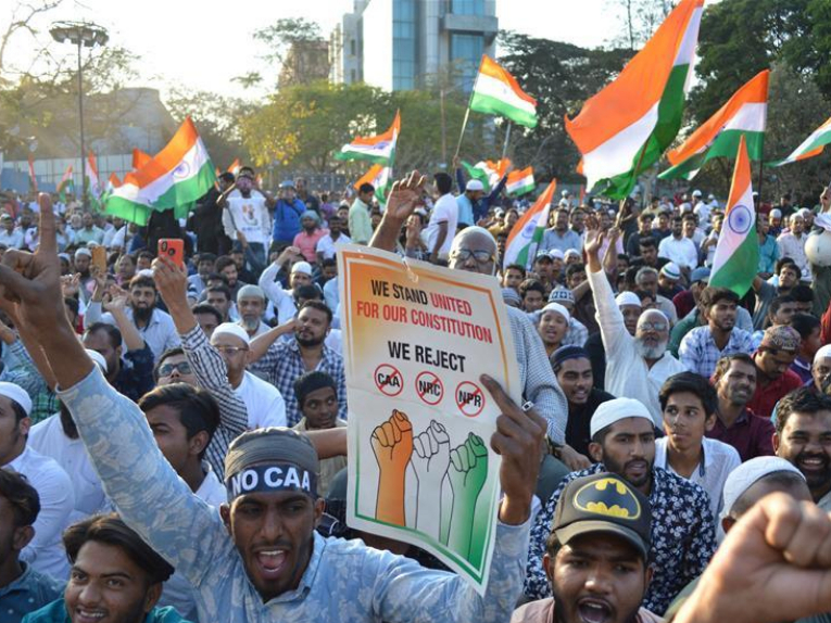 Indians participate in protest against new citizenship law in Bangalore