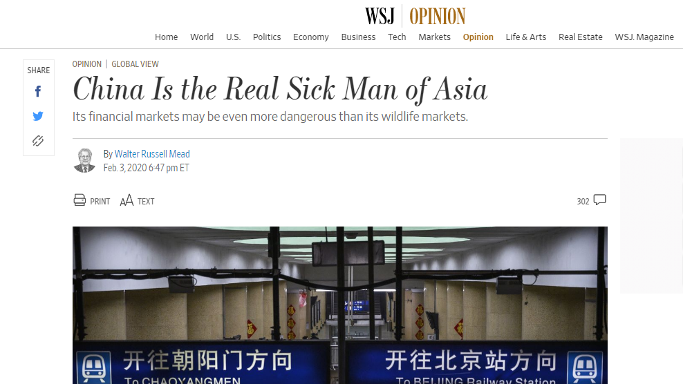 Reporters ask for apology from WSJ over racist headline calling China 'sick man'