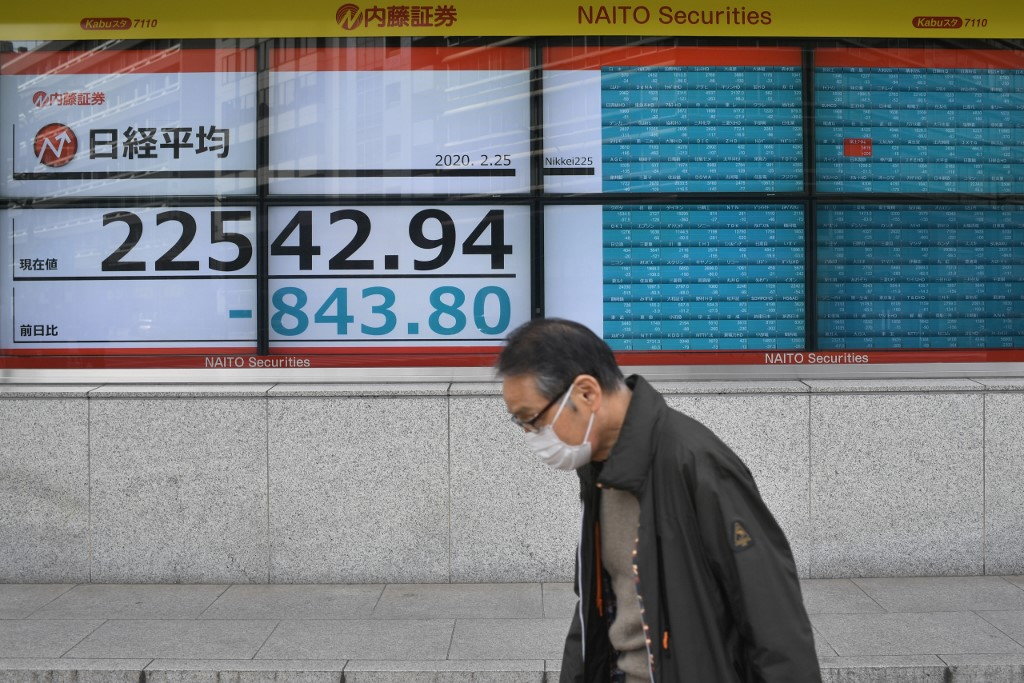 Tokyo stocks drop in morning after Wall Street's overnight tumble