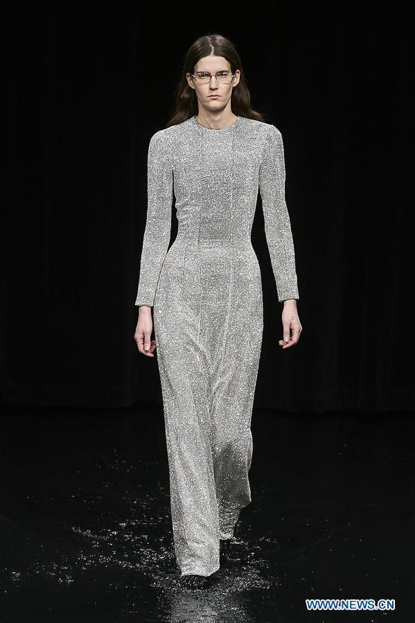 Creations by Balenciaga presented during fashion show in Paris