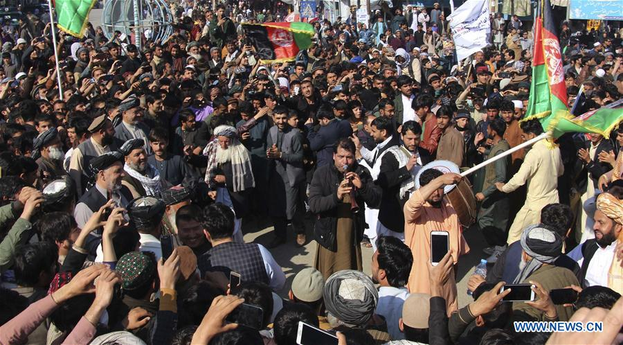Local people celebrate peace agreement between U.S. and Taliban in Kunduz