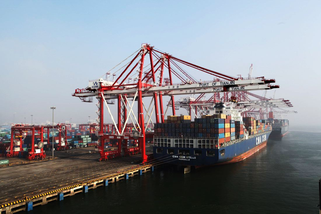 Direct shipping route links China's Tianjin port with northern Europe