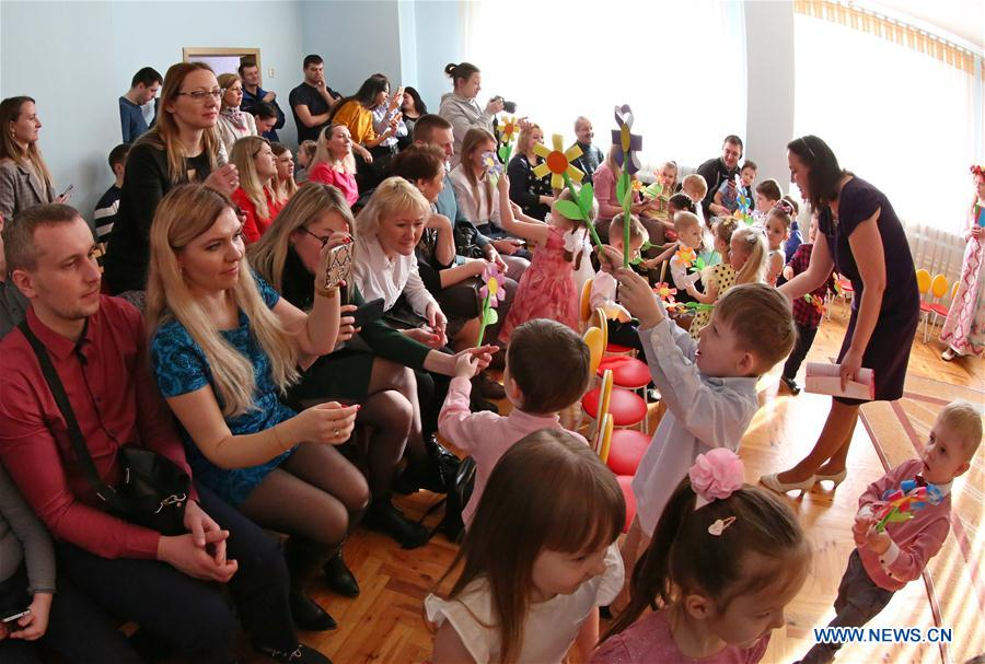 Children perform during event at kindergarten to greet upcoming 2020 Int'l Women's Day in Minsk