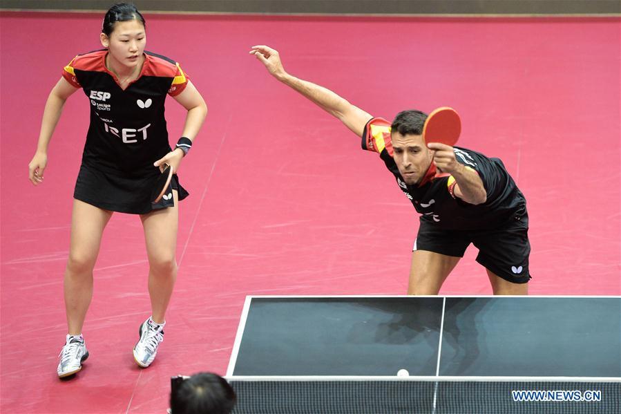 Mixed doubles seimifinal match at 2020 ITTF Qatar Open