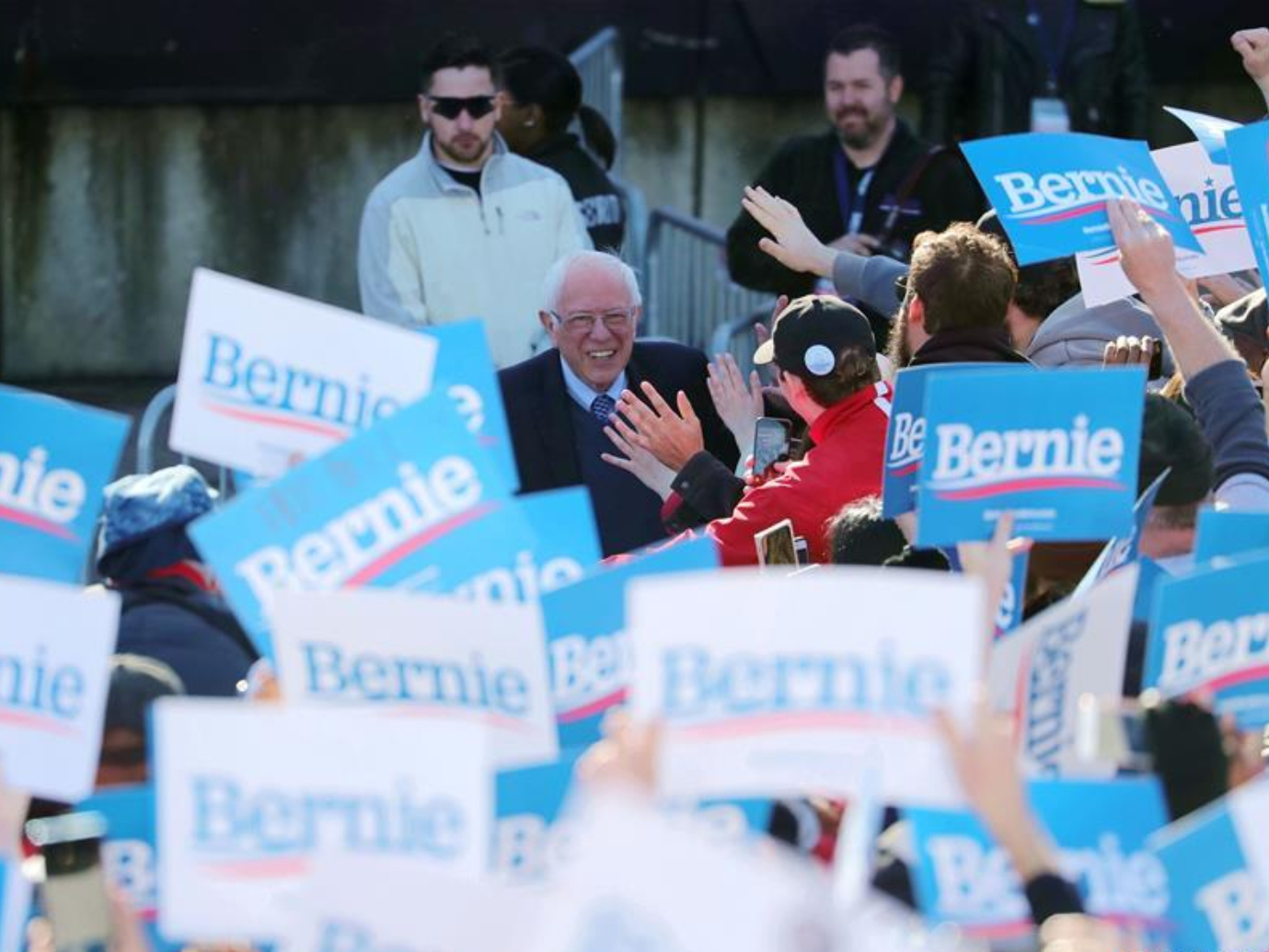 US Democratic presidential candidate speaks during campaign rally in Chicago