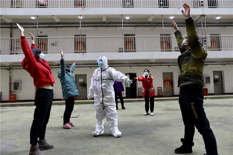 Recovered COVID-19 patients stay fit in Wuhan quarantine site