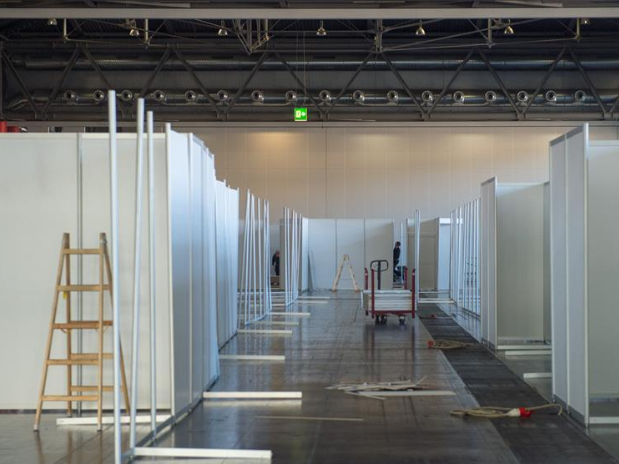 Large exhibition hall transformed into temporary hospital for coronavirus patients in Austria