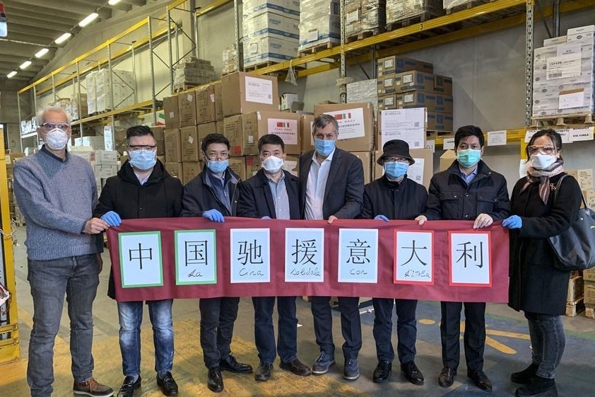 China's medical supply arrives in Italy to help fight COVID-19