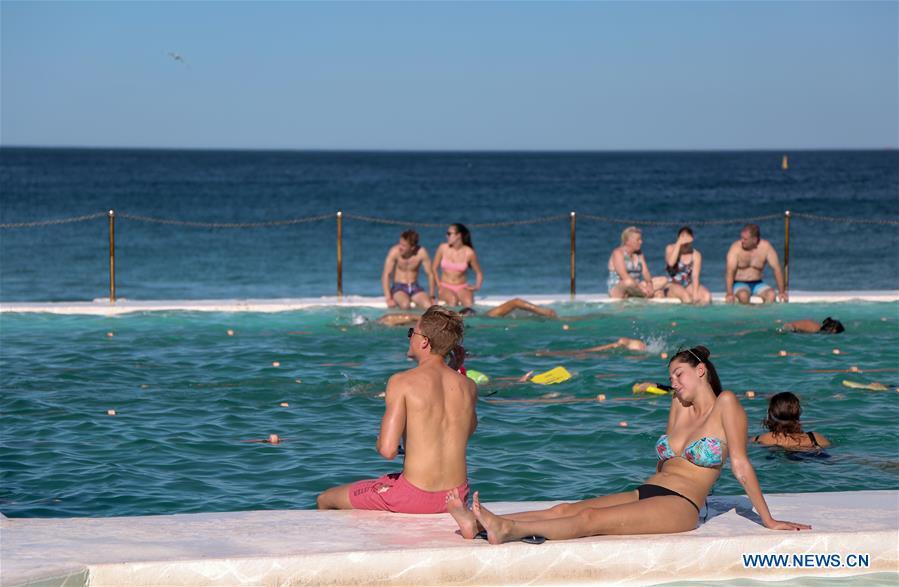 Beachgoers enjoy sunny day at Bondi Beach in Sydney despite COVID-19 concern