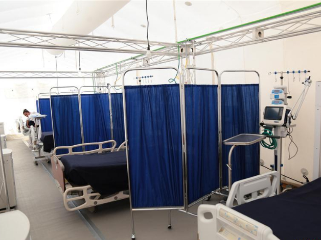 Inflatable hospital prepared in response to escalation of novel coronavirus epidemic in Hidalgo, Mexico