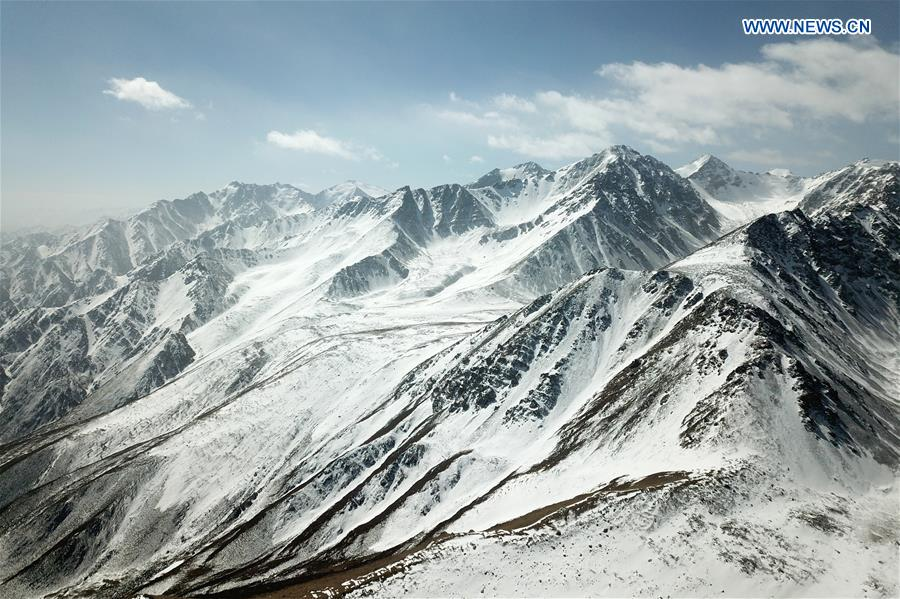 View of snow mountains at scenic spot in China's Gansu