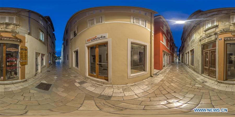 Panoramic photos show empty city center in Zadar, Croatia